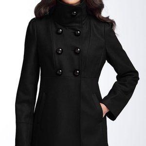 Guess Black Wool Coat Bow Back Detail Petites